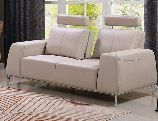Echtleder Premium Couch Veneto, 2-Sitz Sofa, Farbe: Ecru-beige