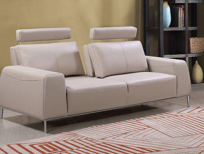Echtleder Premium Couch Veneto, 3-Sitz Sofa, Farbe: Ecru-beige