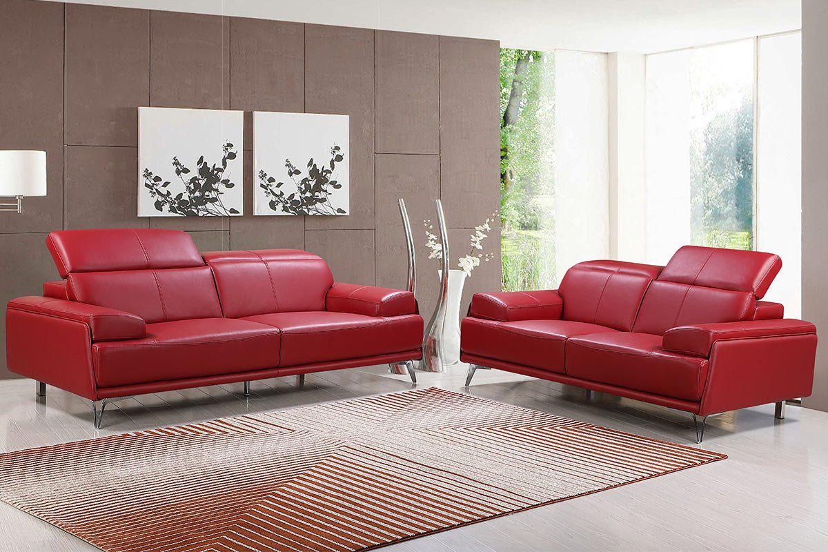 Echtleder Premium Couch Venezia, Set (2- und 3-Sitz Sofa), Farbe: Rubin-rot