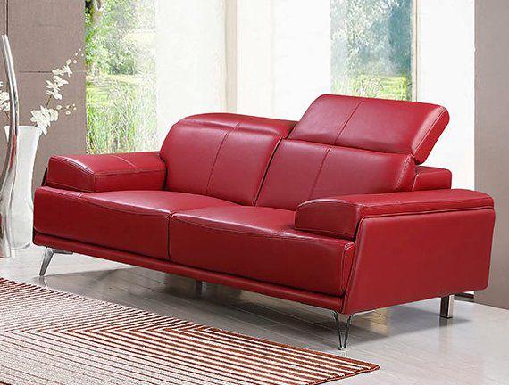 Echtleder Premium Couch Venezia, 2-Sitz Sofa, Farbe: Rubin-rot