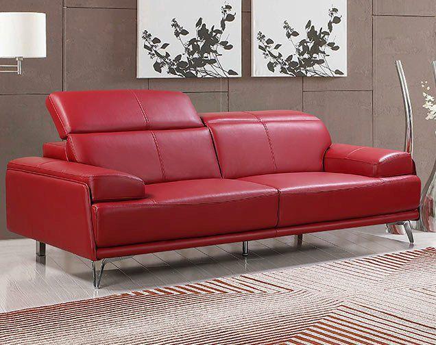Echtleder Premium Couch Venezia, 3-Sitz Sofa, Farbe: Rubin-rot