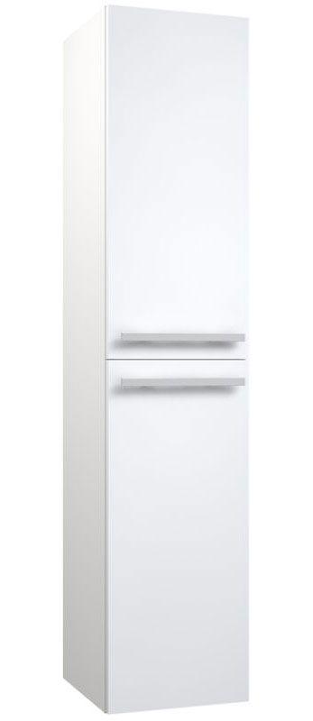 Bad - Hochschrank Bidar 84, Farbe: Weiß glänzend – 160 x 35 x 35 cm (H x B x T)