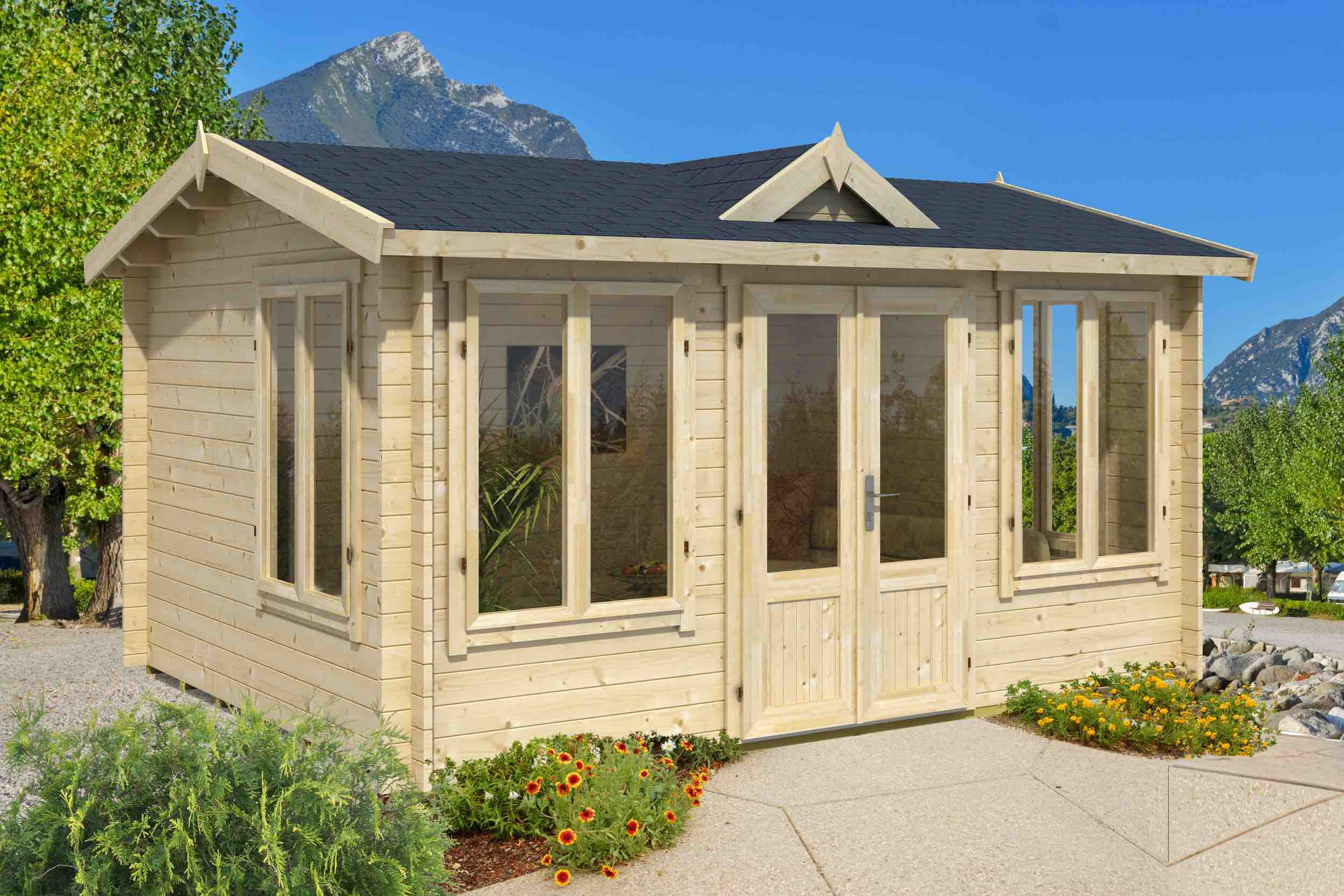 Gartenhaus G221 inkl. Fußboden - 44 mm Blockbohlenhaus, Grundfläche: 11,40 m², Satteldach