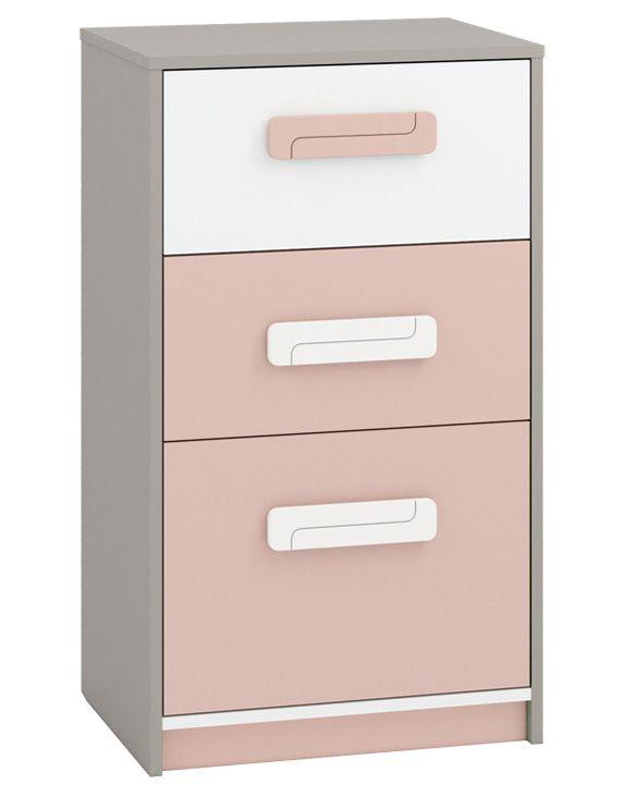 Kinderzimmer - Kommode Renton 17, Farbe: Platingrau / Weiß / Puderrosa - Abmessungen: 94 x 54 x 40 cm (H x B x T), mit 3 Schubladen