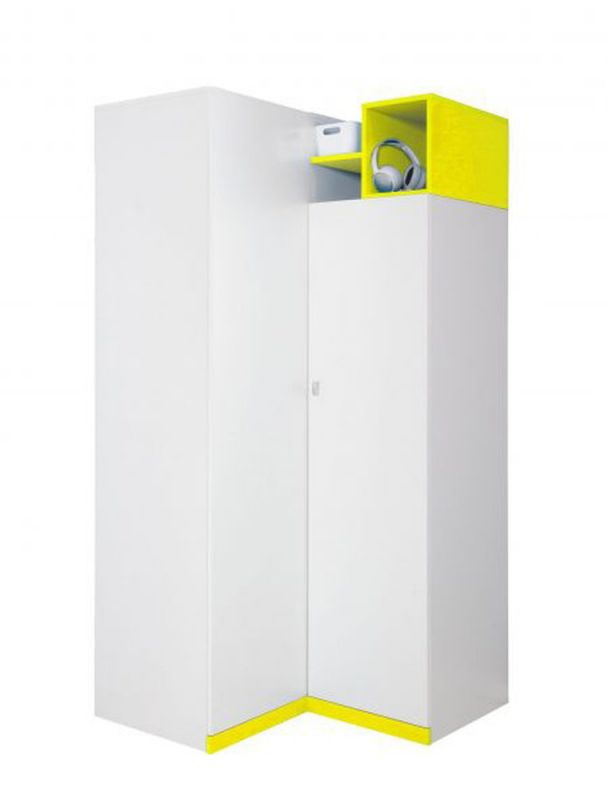 """Jugendzimmer - Drehtürenschrank / Eckkleiderschrank """"Geel"""" 22, Weiß / Gelb - Abmessungen: 195 x 95 x 95 cm (H x B x T)"""