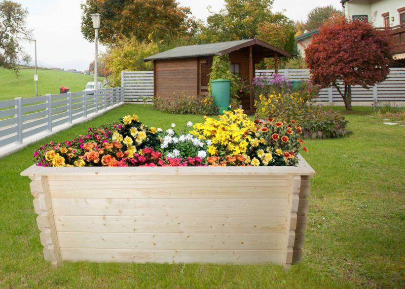 Hochbeet Gartenfreude aus Blockbohlen - Sockelmaß: 198 x 98 cm, Bohlenstärke: 44 mm