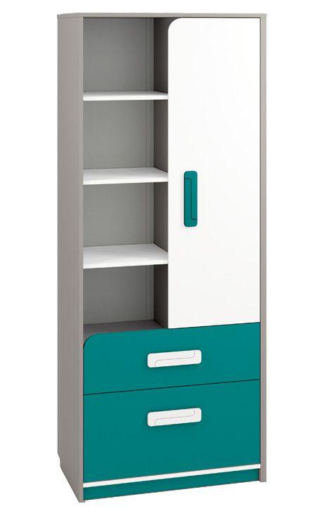 Kinderzimmer - Schrank Renton 03, Farbe: Platingrau / Weiß / Blaugrün - Abmessungen: 199 x 80 x 40 cm (H x B x T), mit 1 Tür, 2 Schubladen und 8 Fächern