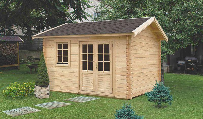 Gartenhaus I14 - 44 mm Blockbohlenhaus, Grundfläche: 15,80 m², Satteldach