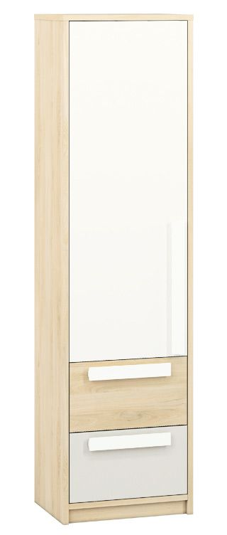 Jugendzimmer - Schrank Greeley 04, Farbe: Buche / Weiß / Hellgrau - Abmessungen: 199 x 54 x 40 cm (H x B x T), mit 1 Tür, 2 Schubladen und 4 Fächern