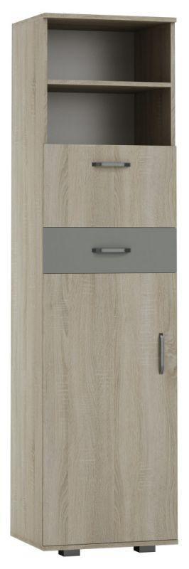 Schrank Ciomas 31, Farbe: Sonoma Eiche / Grau - Abmessungen: 190 x 50 x 40 cm (H x B x T)