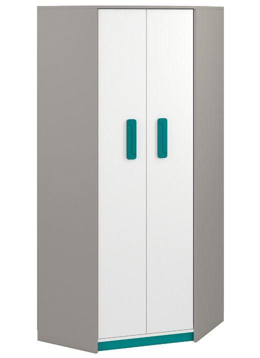 Kinderzimmer - Drehtürenschrank / Eckkleiderschrank Renton 01, Farbe: Platingrau / Weiß / Blaugrün - Abmessungen: 199 x 82 x 82 cm (H x B x T), mit 2 Türen und 6 Fächern
