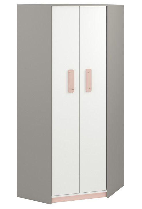 Kinderzimmer - Drehtürenschrank / Eckkleiderschrank Renton 01, Farbe: Platingrau / Weiß / Puderrosa - Abmessungen: 199 x 82 x 82 cm (H x B x T), mit 2 Türen und 6 Fächern