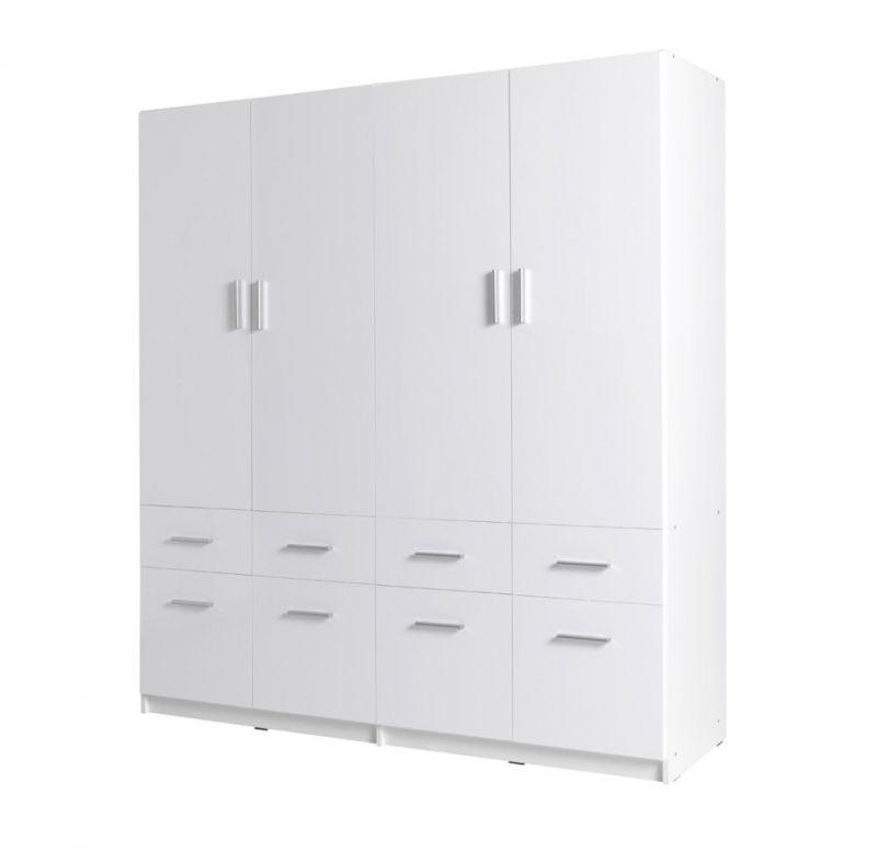 Drehtürenschrank / Kleiderschrank Messini 05, Farbe: Weiß / Weiß Hochglanz - Abmessungen: 198 x 181 x 54 cm (H x B x T)