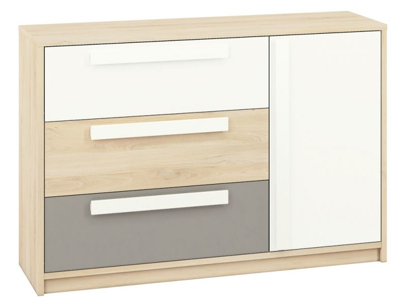Jugendzimmer - Kommode Greeley 08, Farbe: Buche / Weiß / Platingrau - Abmessungen: 93 x 138 x 40 cm (H x B x T), mit 1 Tür, 3 Schubladen und 2 Fächern