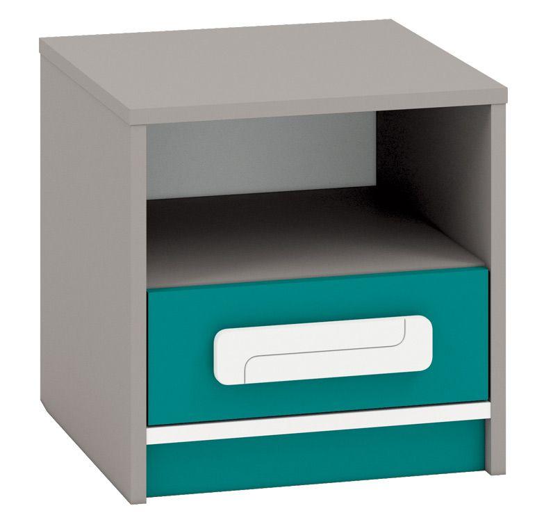 Kinderzimmer - Nachtkästchen Renton 13, Farbe: Platingrau / Weiß / Blaugrün - Abmessungen: 40 x 40 x 40 cm (H x B x T), mit 1 Schublade und 1 Fach