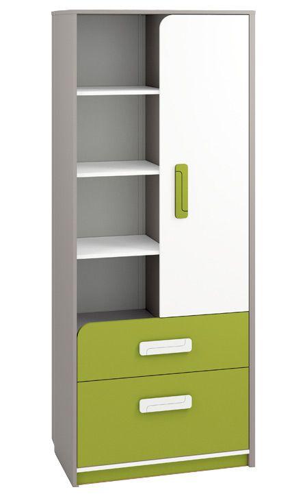 Kinderzimmer - Schrank Renton 03, Farbe: Platingrau / Weiß / Grün - Abmessungen: 199 x 80 x 40 cm (H x B x T), mit 1 Tür, 2 Schubladen und 8 Fächern