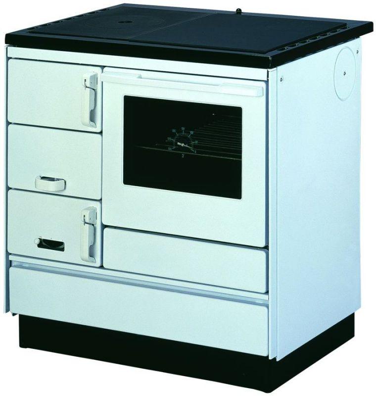 Holz-Küchenherd SONDERAKTION mit Stahlplatte gussgrau und Backrohr - Ausführung: Weiß rechts mit Plastikgriffen