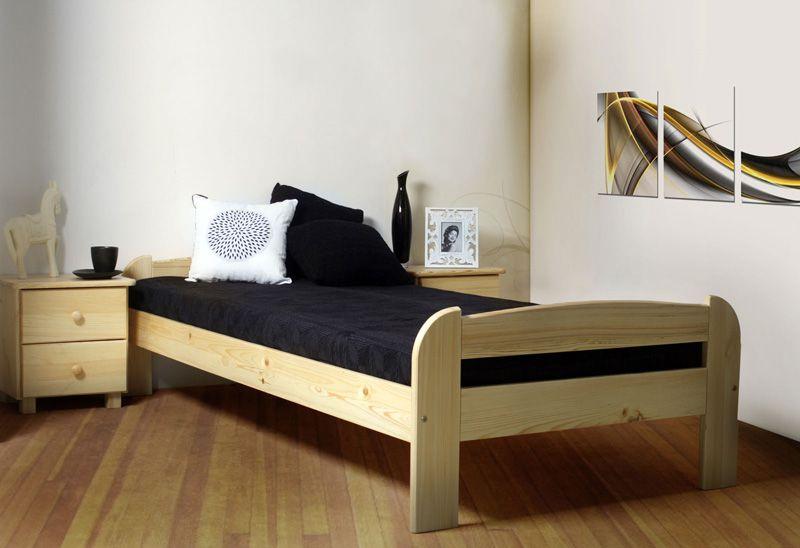 Einzelbett / Gästebett Kiefer Vollholz massiv natur A11, inkl. Lattenrost - Abmessung 90 x 200 cm